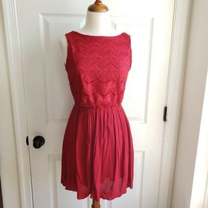 Alya Womens Size S Lace Fit & Flare Red Dress